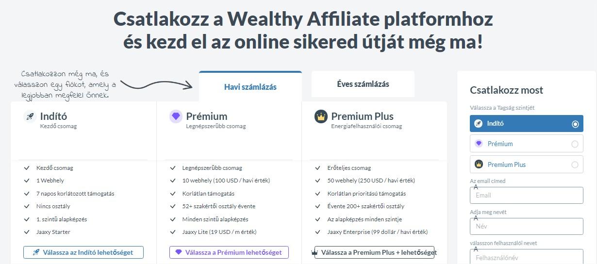 A Wealthy Affiliate Platform csomagok, amivel pénzt keresel otthonodban